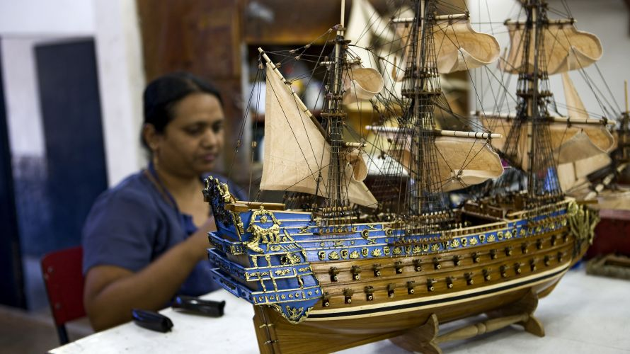 These small model ships are built as replicas of real boats!