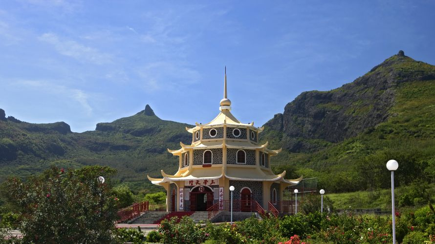 A traditional pagoda building on Mauritius